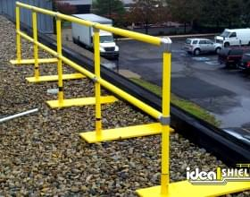 Gravel Roof Fall Protection Railing Yellow