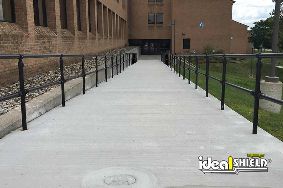 Ideal Shield's Brown Steel Pipe and Plastic Handrail at Oakland University's campus in Michigan