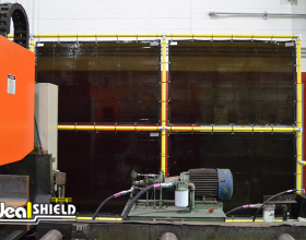 Ideal Shield's Steel Pipe & Plastic Handrail used as a safety wall by a shop entrance