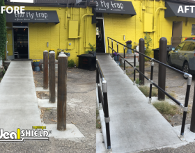 Before and After: Ideal Shield's Steel Pipe and Plastic Handrail with Bollard Covers lining a handicap accessible ramp at a restaurant entrance