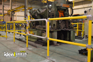 Ideal Shield's Steel Pipe & Plastic Handrail with custom gate around machinery