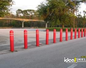 "1/4"" Bollard Covers White Reflictive Strip At Disney Parking Lot"