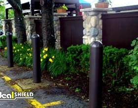 "Gated Parking Entry With 1/4"" Bollard Covers"