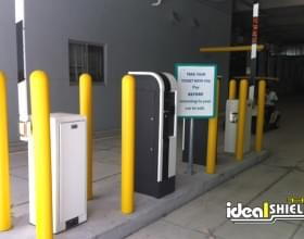 """Parking Garage Entrance Protection With 1/8"""" Bumper Post Sleeve"""