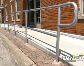 Pedestrian Walkway Protected By Aluminum Handrail