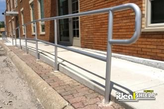 Pedestrian Walkway Protected By Aluminum Handrail