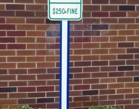 Blue U-Channel Cover On Handicap Parking Sign