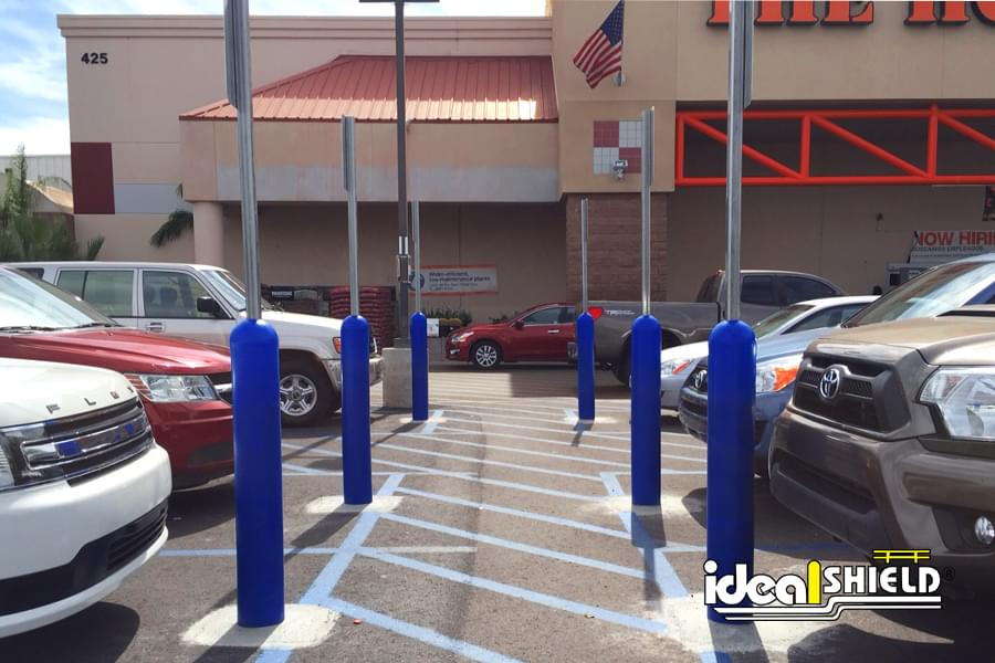 Blue Handicap Bollard Sign System at Home Depot