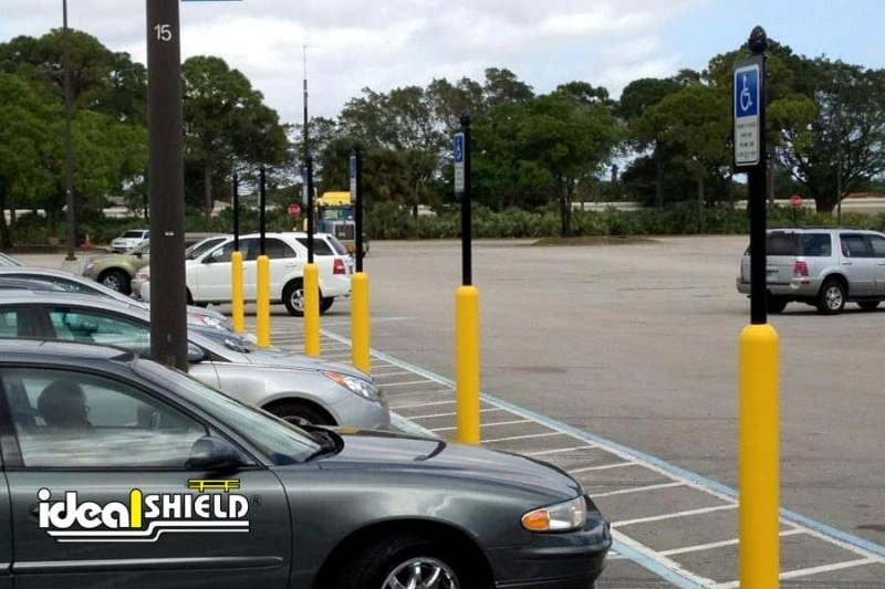 Ideal Shield's six inch Yellow Handicap Bollard Sign System