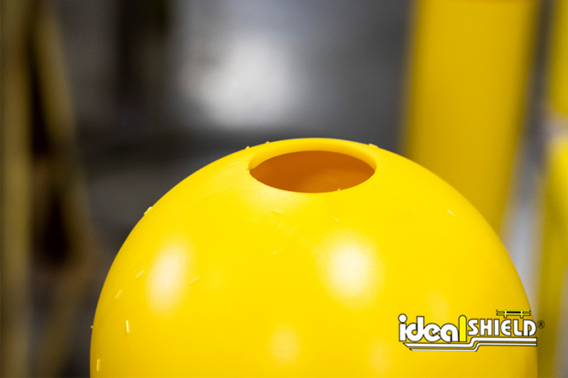 Close up of Ideal Shield's precision round sign post cutting for Bollard Sign Systems