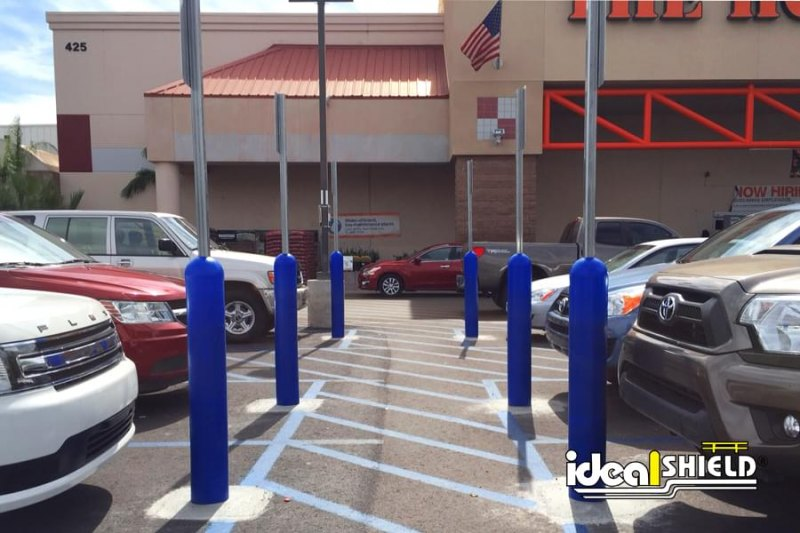 Ideal Shield's six inch Blue Handicap Bollard Sign Systems at Home Depot
