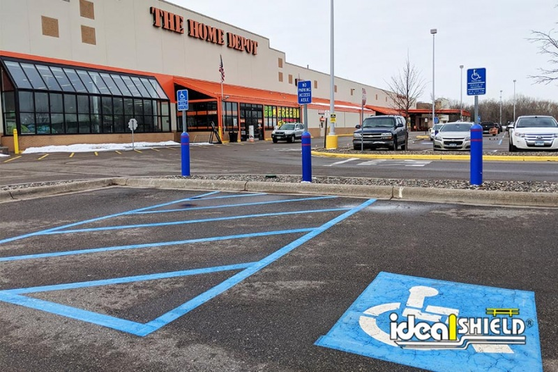 Ideal Shield's six inch Blue Bollard Sign Systems at Home Depot