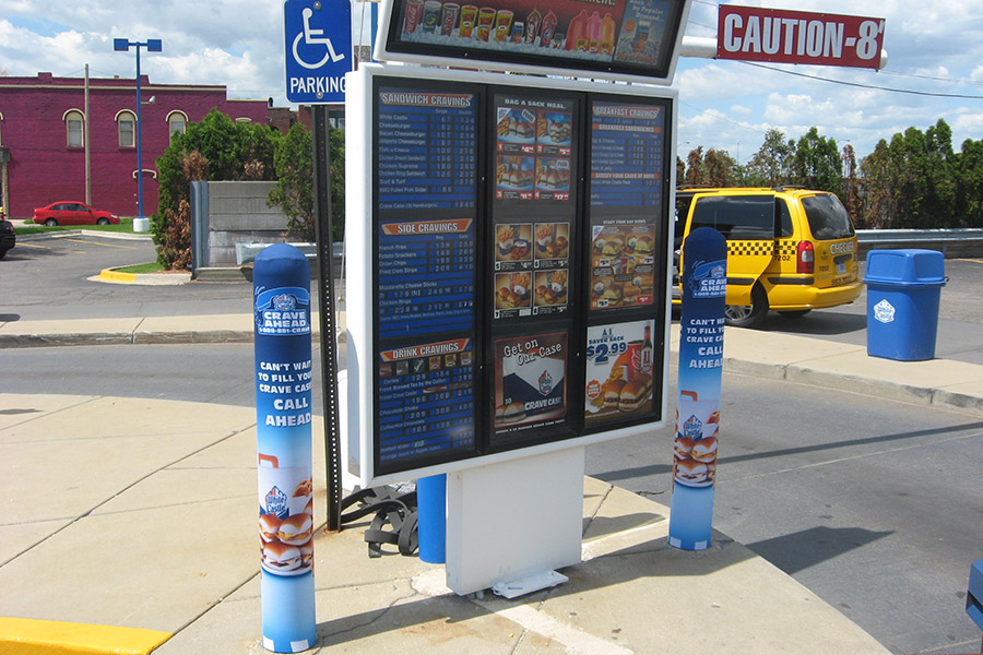 Ideal-Shields-custom-Fabric-Bollard-Covers-for-White-Castle