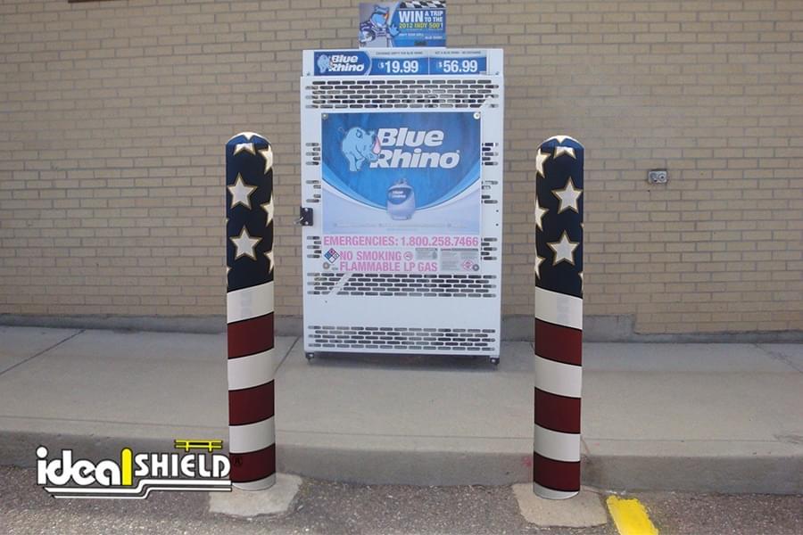 AdShield Fabric Bollard Covers - American Flag