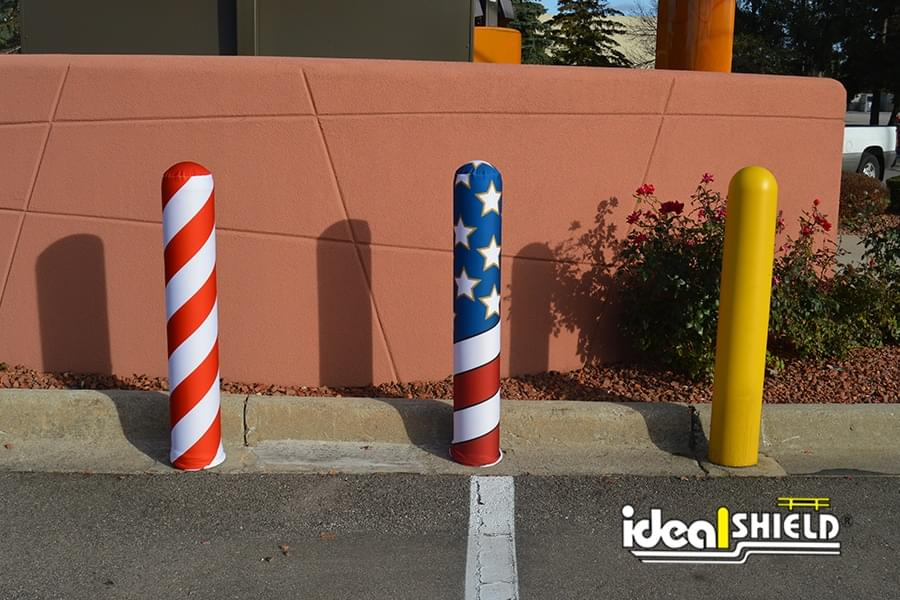 AdShield Fabric Bollard Cover - Candy Cane and American Flag