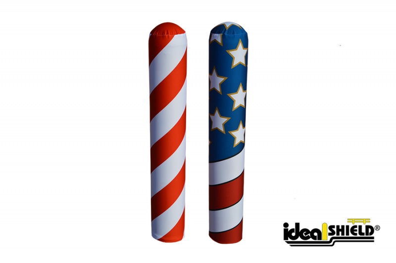 Ideal Shield's Candy Cane and American Flag AdShield Fabric Bollard Covers