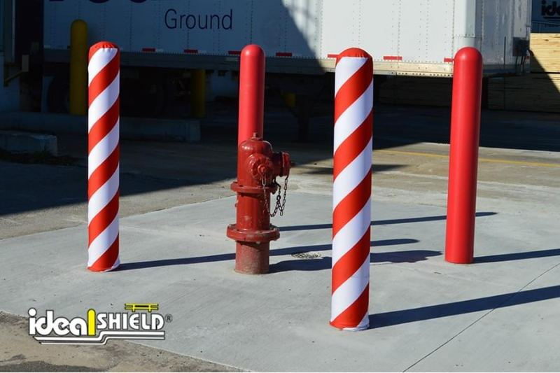 Ad Shield Candy Cane Fabric Bollard Cover