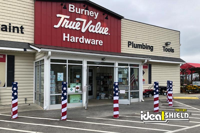 Ideal Shield's American Flag AdShield Fabric Bollard Covers at Burney Hardware