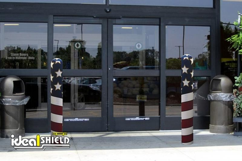 AdShield Fabric American Flag Bollard Cover
