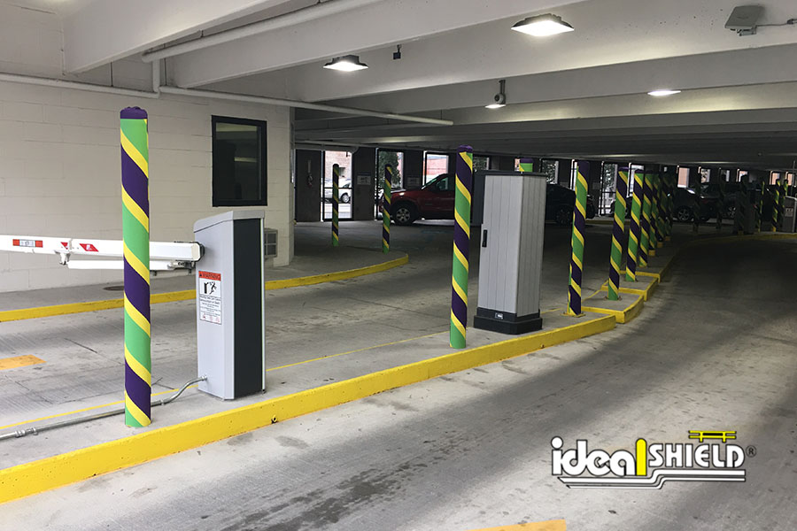 Ideal Shield's custom fabric bollard covers for Mardi Gras in New Orleans