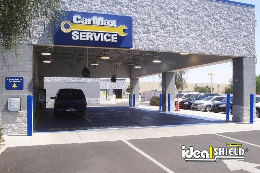 Custom Blue Bollard Covers to match CarMax Service Centers