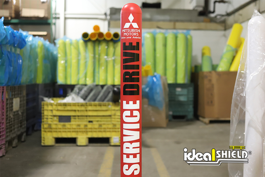 Ideal Shield's custom Bollard Cover for Mitsubishi Motors' Service Drive Lanes