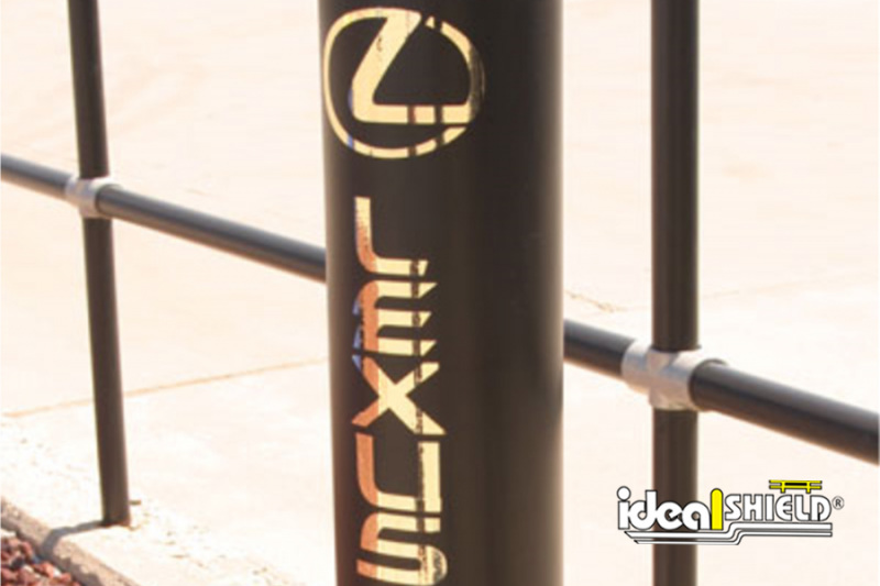 Ideal Shield's Black Bollard Cover with a Lexus decal in gold