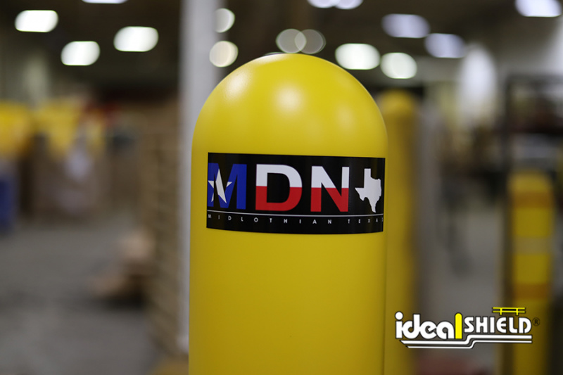 Ideal Shield's Bollard Cover with custom decal