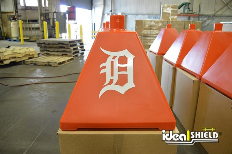 Orange Portable Sign Base with Detroit 'D' logo used for Detroit Tigers training facility