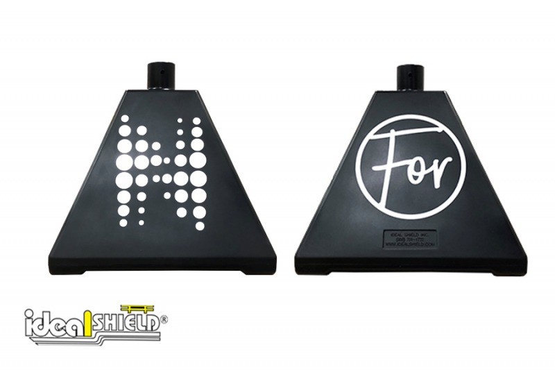 Ideal Shield's black portable sign bases with custom logos