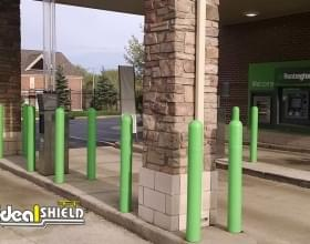 Huntington Bank ATM Bollard Covers with a custom green color to match