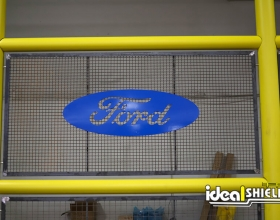 Ideal Shield's custom cut infill panel with Ford's logo