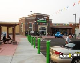 Architectural Decorative Bollard Covers in a custom green to match WalMart corporate branding
