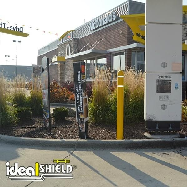 McDonald's Drive-Through With Reflective Bollard Cover Protection