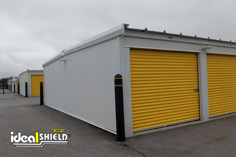 Ideal Shield's Black Bollard Covers white Yellow reflective tape