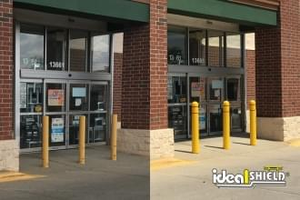 Comparison photo of raw painted bollards and Ideal Shield's Reflective Bollard Covers