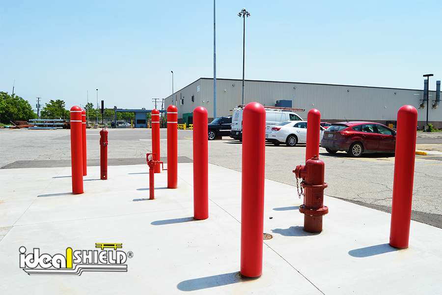 Ideal Shield's Red Bollard Covers used to guard critical area a near shipping deck