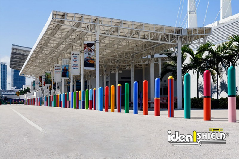 Ideal Shield custom designed lines of colorful mixed six inch Bollard Covers for the Port of Miami