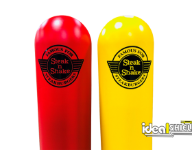 Ideal Shield's dome top bollard covers with custom decals for Steak & Shake