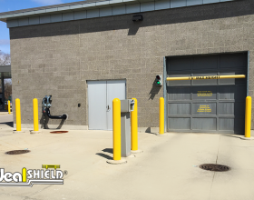Ideal Shield's Bollard Covers around a car wash