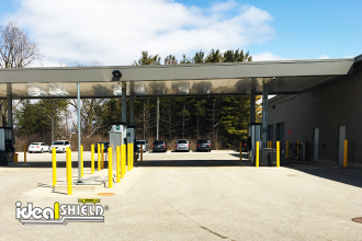 Ideal Shield's Bollard Covers used to guard gas station pumps