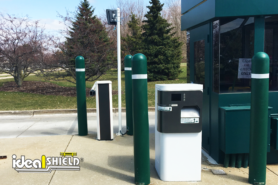Ideal Shield's Bollard Covers with white reflective tape