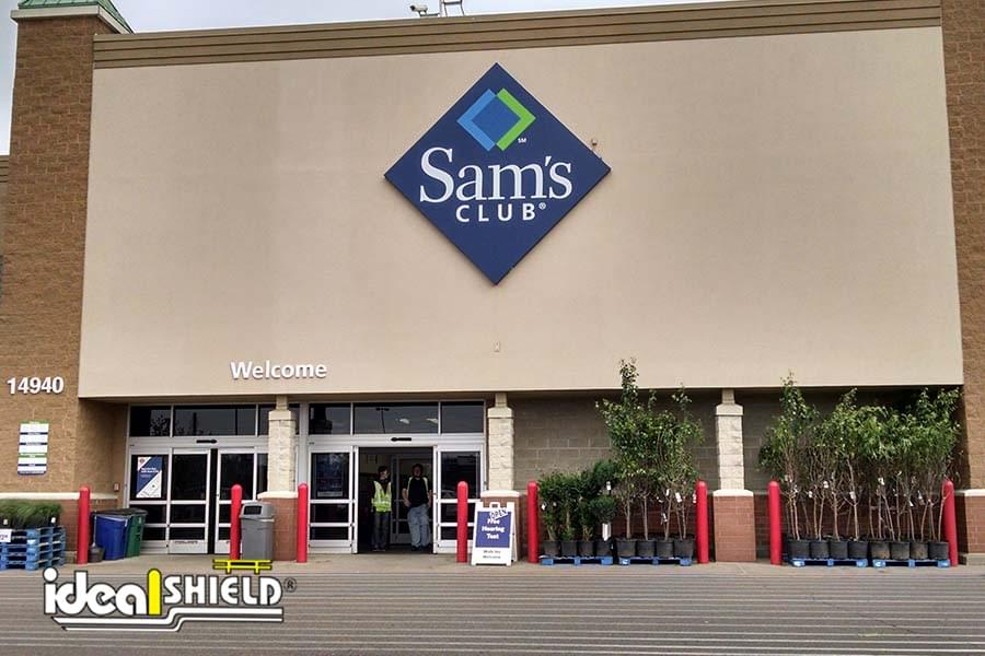 Ideal Shield's plastic Bollard Covers guarding the storefront of Sam's Club