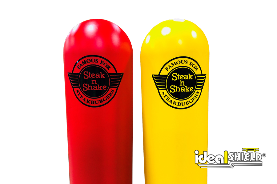 Ideal Shield's bollard covers with custom decals for Steak & Shake