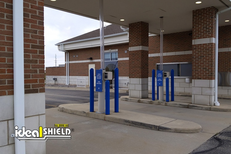 Ideal Shield's Blue  Bollard Covers at  Chase Bank