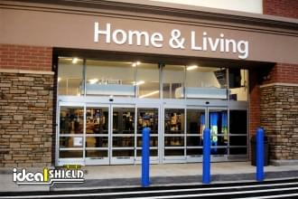 "Ideal Shield's 1/8"" Bollard Covers used for storefront protection at Walmart"