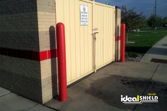 "Ideal Shield's red 1/8"" Bollard Covers used at Burger King"