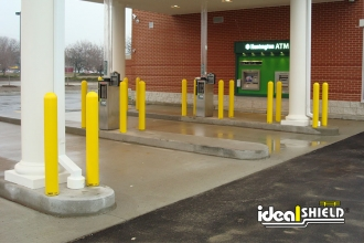 "Ideal Shield's 1/8"" Bollard Covers used for bank ATM drive-thru protection"