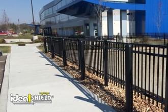 Ideal Shield's plastic Bollard Covers guarding a hospital parking lot