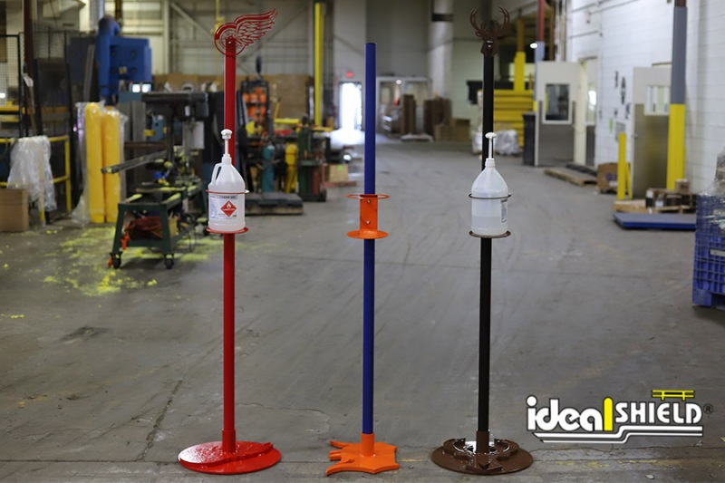 Ideal Shield's Custom Designed Sanitizer Stands with weighted base plates